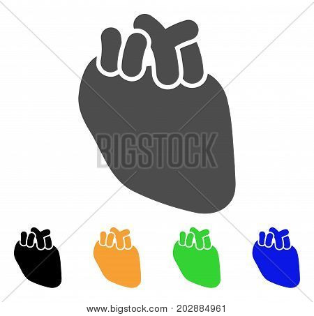 Heart Organ vector icon. Style is a flat graphic symbol in gray, black, yellow, blue, green color variants. Designed for web and mobile apps.
