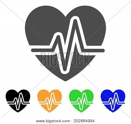 Heart Pulse vector icon. Style is a flat graphic symbol in gray, black, yellow, blue, green color versions. Designed for web and mobile apps.
