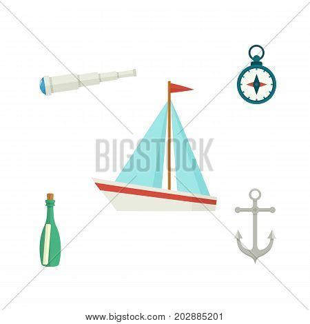Nautical set - sailboat, anchor, compass, telescope, message bottle, flat cartoon vector illustration isolated on white background. Nautical elements - ship, anchor, compass, telescope, message bottle