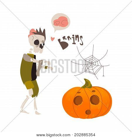 Halloween objects - skeleton zombie monster, spider web and pumpkin lantern, cartoon vector illustration isolated on white background. Cartoon skeleton zombie, Halloween pumpkin and spider web