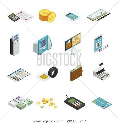 Payment methods isometric icons collection with cash banknotes coins credit bank cards and smartphones isolated vector illustration