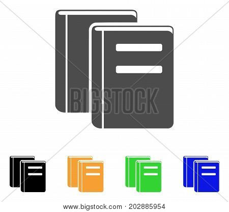 Library Books vector pictogram. Style is a flat graphic symbol in grey, black, yellow, blue, green color versions. Designed for web and mobile apps.