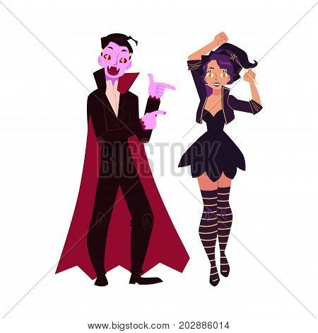 Girl, woman dressed as witch, magician, man in vampire costume, Halloween party, cartoon vector illustration isolated on white background. Couple dressed for Halloween - witch girl and dracula man