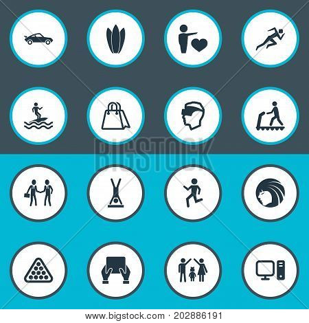 Elements Lineage, Walking, Cyberspace And Other Synonyms Board, Merchandise And Internet.  Vector Illustration Set Of Simple Yoga Icons.