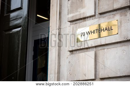 LONDON UK - 29 AUGUST 2017: An address plate outside the UK government building at 70 Whitehall the Cabinet Office on London's Whitehall.