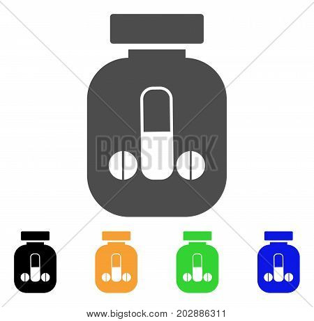 Male Power Vial vector icon. Style is a flat graphic symbol in gray, black, yellow, blue, green color versions. Designed for web and mobile apps.