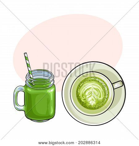Hand drawn matcha green tea drinks - latte, cappuccino cup and cocktail, smoothie jar, sketch vector illustration with space for text.