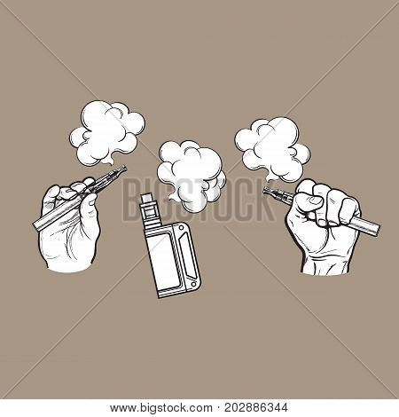 Male hand holding e-cigarette, electronic cigarette, vapor with smoke coming out, black and white sketch vector illustration isolated on color background.