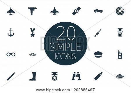 Elements Rifle Gun, Sky Force, Shield And Other Synonyms Walkies, Weapon And Cap.  Vector Illustration Set Of Simple Army Icons.