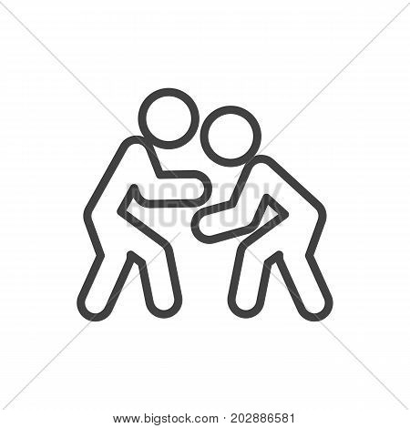 Vector Fight Element In Trendy Style.  Isolated Wrestling Outline Symbol On Clean Background.