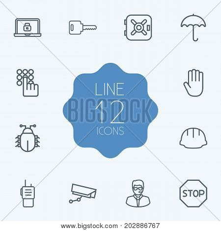 Collection Of No Entry, Virus, Walkie-Talkie And Other Elements.  Set Of 12 Security Outline Icons Set.