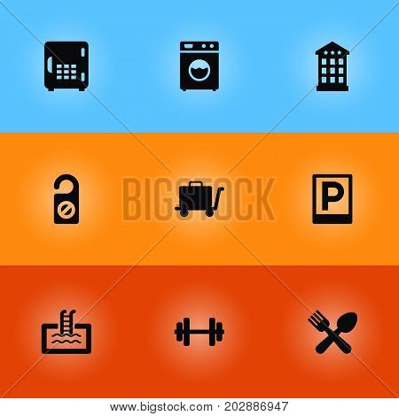 Collection Of Barbell, Strongbox, Carriage And Other Elements.  Set Of 9 Motel Icons Set.
