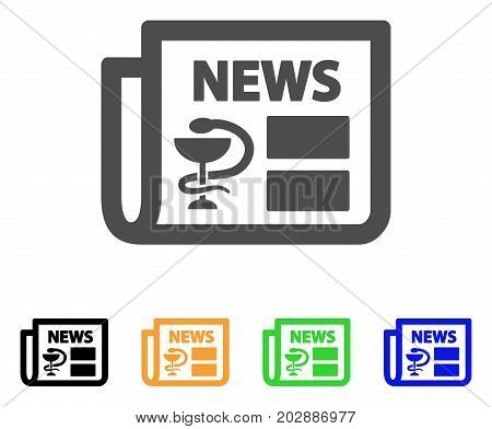 Medical Newspaper vector pictogram. Style is a flat graphic symbol in gray, black, yellow, blue, green color versions. Designed for web and mobile apps.
