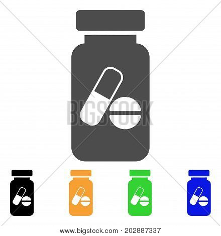 Medication Vial vector icon. Style is a flat graphic symbol in grey, black, yellow, blue, green color variants. Designed for web and mobile apps.