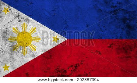 Flag of the Philippines against the background of the stone texture