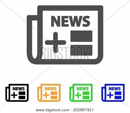 Medicine Newspaper vector icon. Style is a flat graphic symbol in gray, black, yellow, blue, green color versions. Designed for web and mobile apps.