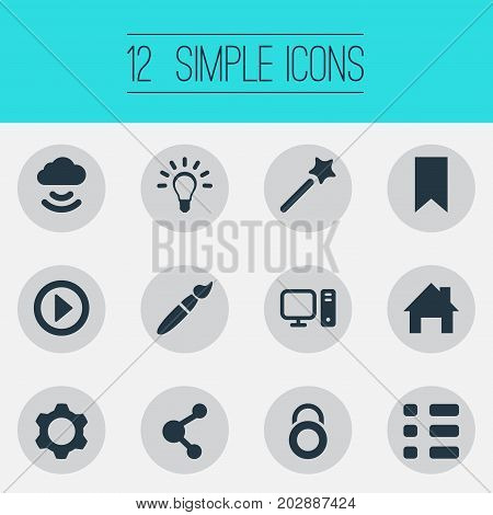 Elements Paintbrush, Publish, Play And Other Synonyms Privacy, Cloud And Brush.  Vector Illustration Set Of Simple Web Icons.