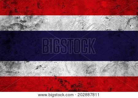 Flag of the Thailand against the background of the stone texture