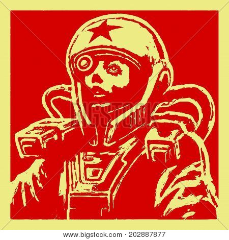 Heroine astronaut sketch on red background. Cool science fiction spaceman cover. Serious character in space suit. Day of astronautics. Vector illustration.