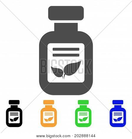 Natural Drugs Vial vector pictograph. Style is a flat graphic symbol in gray, black, yellow, blue, green color versions. Designed for web and mobile apps.