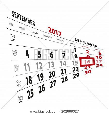 16 September Highlighted On Calendar 2017. Week Starts From Monday.