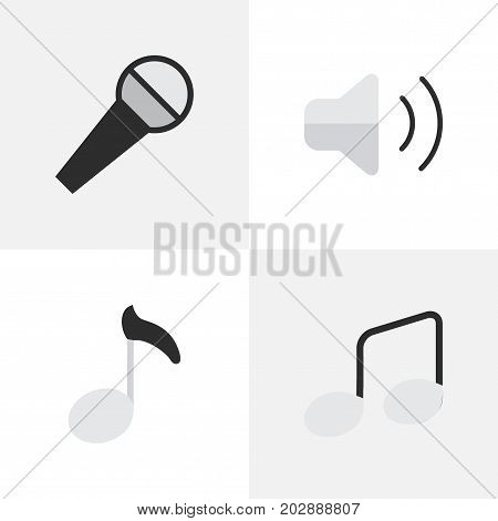 Elements Loudness, Note, Music Sign And Other Synonyms Volume, Sign And Mike.  Vector Illustration Set Of Simple Melody Icons.