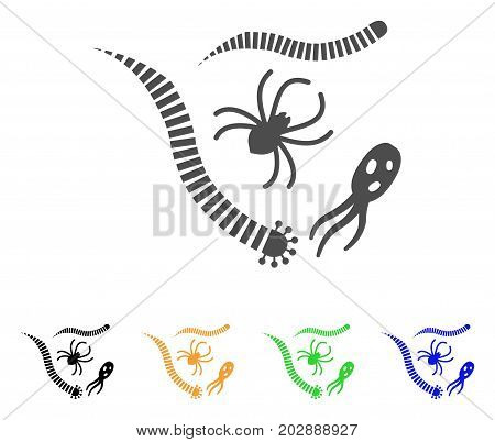 Parasites vector icon. Style is a flat graphic symbol in gray, black, yellow, blue, green color versions. Designed for web and mobile apps.