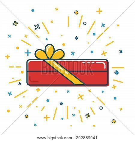 Rectangular gift box icon in flat style. Shining present box with bow on white background.