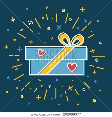 Rectangular gift box icon in flat style. Shining present box with hearts on blue background.