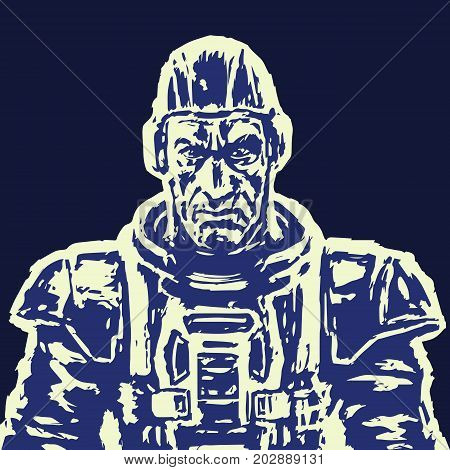 Old spaceman in a space suit without a helmet. Vector illustration. Science fiction illustration in black and white Colors.