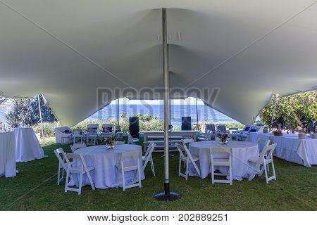 Tent Bedouin Chairs Wedding Venue Beach Ocean Horizon Landscape.