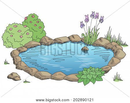 Pond graphic color landscape sketch illustration vector