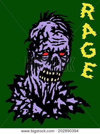 Rage zombie head. Vector illustration. Genre of horror. Green background. States of mind.