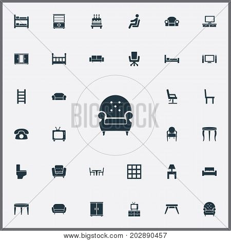 Elements Divan, Settee, Chair And Other Synonyms Tv, Water And Bedside.  Vector Illustration Set Of Simple Furniture Icons.