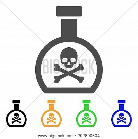 Poison Retort vector pictogram. Style is a flat graphic symbol in grey, black, yellow, blue, green color versions. Designed for web and mobile apps.