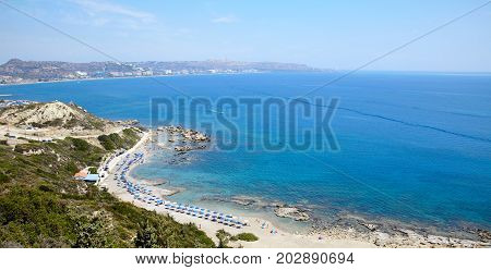 Faliraki nudist beach panorama at Rhodos island, Greece
