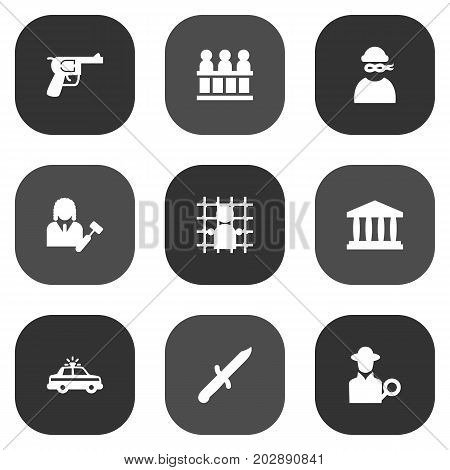 Collection Of Inspector, Bayonet, Police Car And Other Elements.  Set Of 9 Criminal Icons Set.