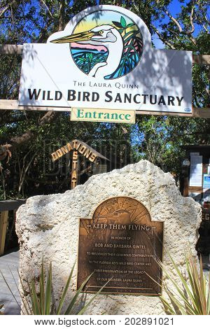FLORIDA KEYS USA - FEBRUARY 07 2014: Laura Quinn Wild Bird Sanctuary in Tavernier. The sanctuary in a part of Florida Keys Wild Bird Rehabilitation Center