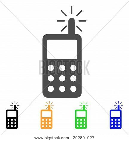 Radio Transmitter Radiation vector icon. Style is a flat graphic symbol in gray, black, yellow, blue, green color variants. Designed for web and mobile apps.