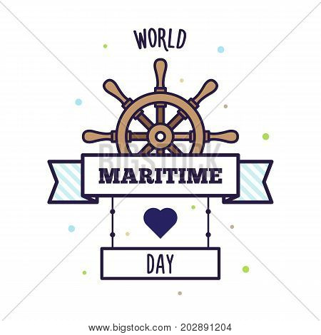 World Maritime Day. Vector illustration of a helm.