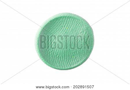 Oil Paint Spot Isolated On White. Abstract Blue And Green Acrylic Watercolors Hand Paint Isolated On