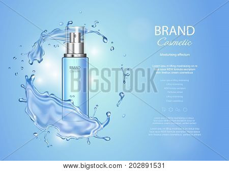 Ice toner ads with blue water splash. Transparent spray bottle, water drops , realistic cosmetics product ads.