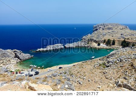 Beautiful St. Paul's bay near the town of Lindos Rhodes Greece