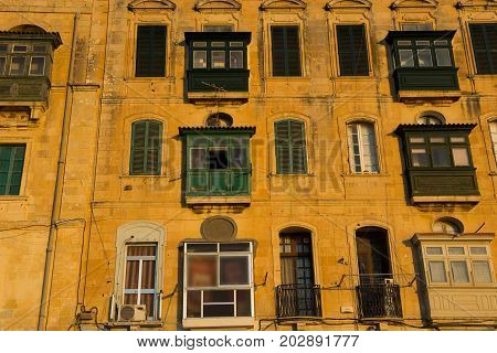 Valetta Balconies, In Late Afternoon Lights