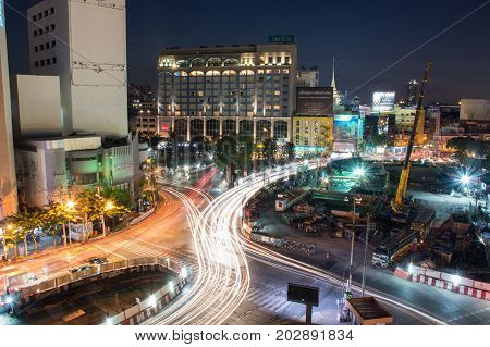 Bangkok, THAILAND -November 20 :Speed Traffic - light trails on Rama 4 Rd. , Bird's eye view on a night urban scene, November 20, 2016 in Bangkok Province , Thailand.