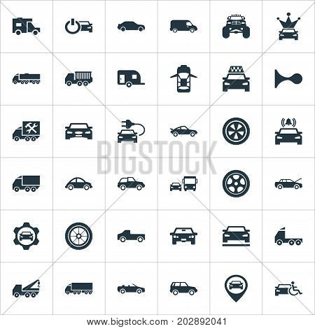 Elements Turtle Transport, Suv, Carting And Other Synonyms Coupe, Offroad And Autocar.  Vector Illustration Set Of Simple Transport Icons.