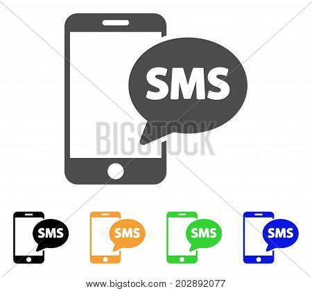 Send Phone SMS vector pictogram. Style is a flat graphic symbol in grey, black, yellow, blue, green color variants. Designed for web and mobile apps.