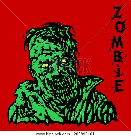 Danger zombie. Vector illustration. States of mind. Genre of horror. Red background.