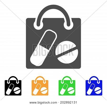 Shopping Bag vector icon. Style is a flat graphic symbol in grey, black, yellow, blue, green color versions. Designed for web and mobile apps.