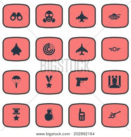 Elements War-Plane, Gun, Vision And Other Synonyms Gun, Artillery And Battle.  Vector Illustration Set Of Simple War Icons.
